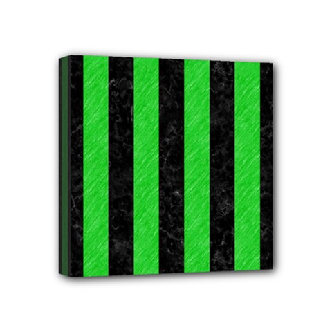 Stripes1 Black Marble & Green Colored Pencil Mini Canvas 4  X 4  by trendistuff