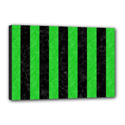 Stripes1 Black Marble & Green Colored Pencil Canvas 18  X 12  by trendistuff