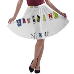I Am Watching You A Line Skater Skirt by Valentinaart
