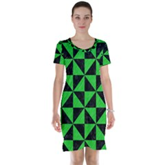 Triangle1 Black Marble & Green Colored Pencil Short Sleeve Nightdress