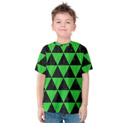 Triangle3 Black Marble & Green Colored Pencil Kids  Cotton Tee by trendistuff