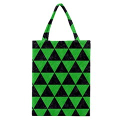 Triangle3 Black Marble & Green Colored Pencil Classic Tote Bag by trendistuff