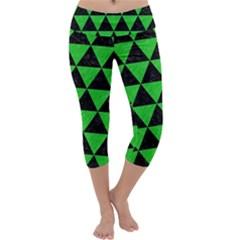 Triangle3 Black Marble & Green Colored Pencil Capri Yoga Leggings by trendistuff