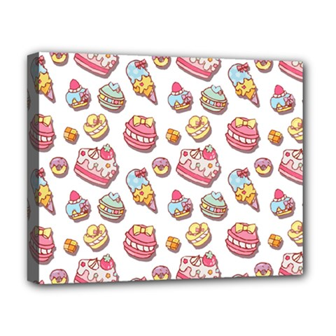 Sweet Pattern Deluxe Canvas 20  X 16   by Valentinaart