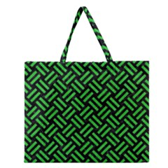 Woven2 Black Marble & Green Colored Pencil Zipper Large Tote Bag by trendistuff