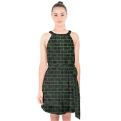 Brick1 Black Marble & Green Leather Halter Collar Waist Tie Chiffon Dress