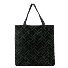 Brick2 Black Marble & Green Leather Grocery Tote Bag by trendistuff
