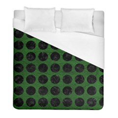 Circles1 Black Marble & Green Leather (r) Duvet Cover (full/ Double Size) by trendistuff