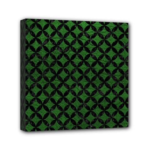 Circles3 Black Marble & Green Leather (r) Mini Canvas 6  X 6  by trendistuff
