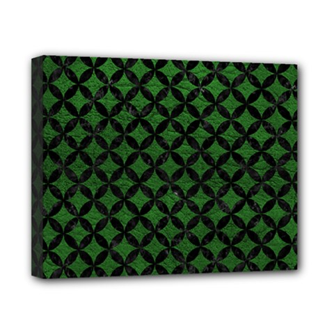 Circles3 Black Marble & Green Leather (r) Canvas 10  X 8  by trendistuff