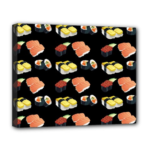 Sushi Pattern Deluxe Canvas 20  X 16   by Valentinaart