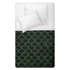 Scales1 Black Marble & Green Leather Duvet Cover (single Size) by trendistuff