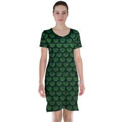 Scales3 Black Marble & Green Leather (r) Short Sleeve Nightdress