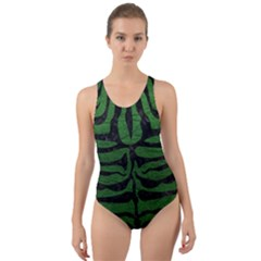 Skin2 Black Marble & Green Leather (r) Cut Out Back One Piece Swimsuit