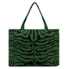 Skin2 Black Marble & Green Leather (r) Zipper Medium Tote Bag