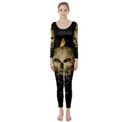Golden Skull With Crow And Floral Elements Long Sleeve Catsuit by FantasyWorld7