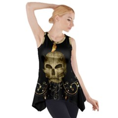 Golden Skull With Crow And Floral Elements Side Drop Tank Tunic by FantasyWorld7