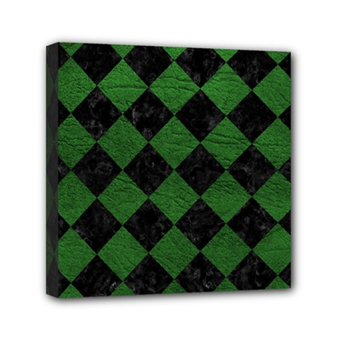 Square2 Black Marble & Green Leather Mini Canvas 6  X 6  by trendistuff