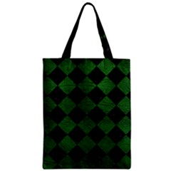 Square2 Black Marble & Green Leather Zipper Classic Tote Bag by trendistuff