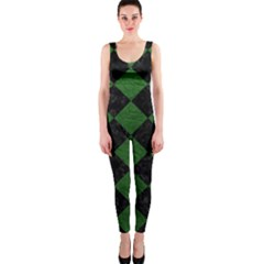 Square2 Black Marble & Green Leather Onepiece Catsuit by trendistuff