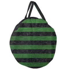 Stripes2 Black Marble & Green Leather Giant Round Zipper Tote by trendistuff