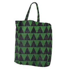 Triangle2 Black Marble & Green Leather Giant Grocery Zipper Tote by trendistuff