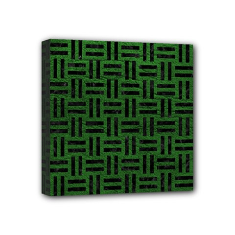 Woven1 Black Marble & Green Leather (r) Mini Canvas 4  X 4  by trendistuff
