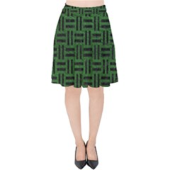 Woven1 Black Marble & Green Leather (r) Velvet High Waist Skirt by trendistuff