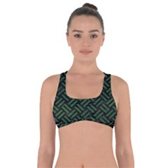 Woven2 Black Marble & Green Leather Got No Strings Sports Bra