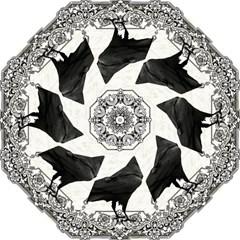 Vintage Halloween Raven Hook Handle Umbrellas (large) by Valentinaart