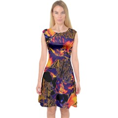 Amazing Glowing Flowers 2a Capsleeve Midi Dress by MoreColorsinLife