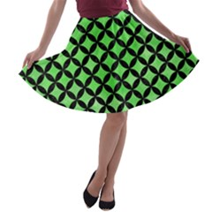 Circles3 Black Marble & Green Watercolor (r) A Line Skater Skirt by trendistuff