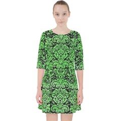 Damask2 Black Marble & Green Watercolor Pocket Dress by trendistuff