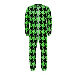 Houndstooth1 Black Marble & Green Watercolor Onepiece Jumpsuit (kids) by trendistuff