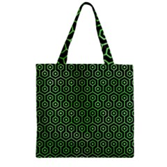 Hexagon1 Black Marble & Green Watercolor Zipper Grocery Tote Bag by trendistuff