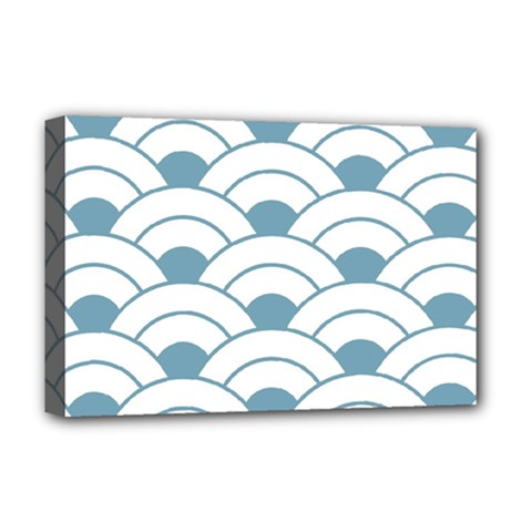 Art Deco,shell Pattern,teal,white Deluxe Canvas 18  X 12   by 8fugoso
