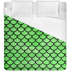 Scales1 Black Marble & Green Watercolor (r) Duvet Cover (king Size) by trendistuff