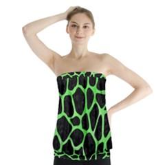 Skin1 Black Marble & Green Watercolor (r) Strapless Top by trendistuff
