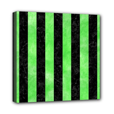 Stripes1 Black Marble & Green Watercolor Mini Canvas 8  X 8  by trendistuff