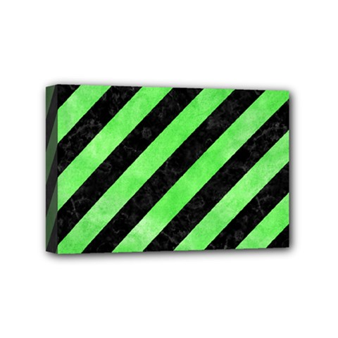 Stripes3 Black Marble & Green Watercolor Mini Canvas 6  X 4  by trendistuff