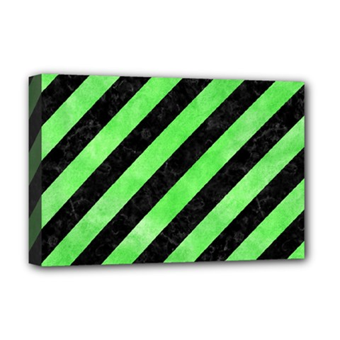 Stripes3 Black Marble & Green Watercolor Deluxe Canvas 18  X 12   by trendistuff