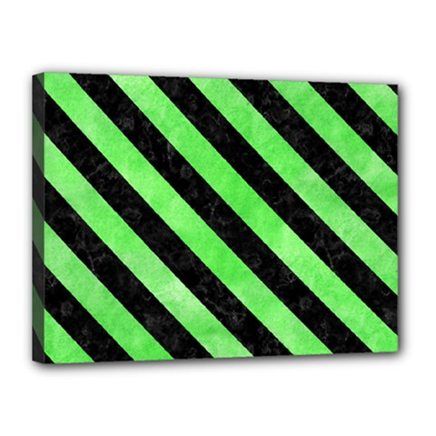 Stripes3 Black Marble & Green Watercolor (r) Canvas 16  X 12  by trendistuff