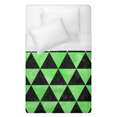 Triangle3 Black Marble & Green Watercolor Duvet Cover (single Size) by trendistuff
