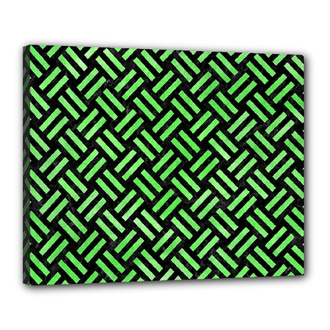 Woven2 Black Marble & Green Watercolor Canvas 20  X 16  by trendistuff