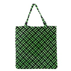 Woven2 Black Marble & Green Watercolor Grocery Tote Bag by trendistuff