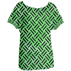 Woven2 Black Marble & Green Watercolor (r) Women s Oversized Tee