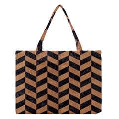 Chevron1 Black Marble & Light Maple Wood Medium Tote Bag by trendistuff