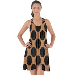 Circles2 Black Marble & Light Maple Wood (r) Show Some Back Chiffon Dress by trendistuff