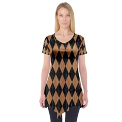 Diamond1 Black Marble & Light Maple Wood Short Sleeve Tunic  by trendistuff