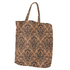 Damask1 Black Marble & Light Maple Wood (r) Giant Grocery Zipper Tote by trendistuff